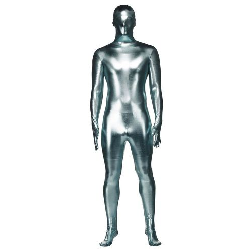 Adult Silver Metalic Skinz Costume for Body Skin Suit Fancy Dress Mens Ladies